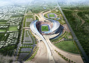 How the stadium will look like during the Games, with grand stand on both sides. Credit: http://populous.com