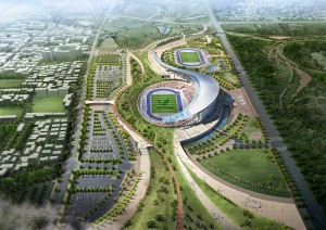 How the stadium will look like after the Games. This is the option for an athletics park. Credit: http://populous.com