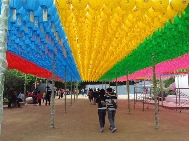 Beautiful lanterns hung up for Buddha's Birthday.