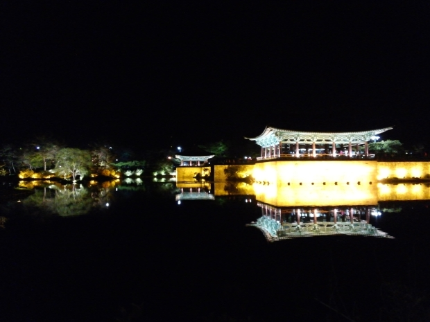 Anapji Pond at night, beautiful reflections in the pond!