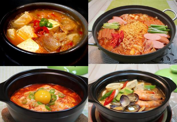 From top left, clockwise direction: Kimchi stew (김치찌개), army stew (부대찌개), soft tofu stew (순두부찌개), bean paste stew (된장찌개)